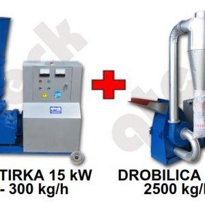 Peletirka 15 kW + drobilica 11 kW